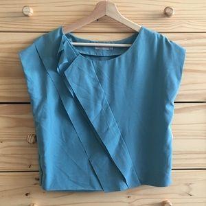 COS Blue Silk Ruffle Crop Blouse 36